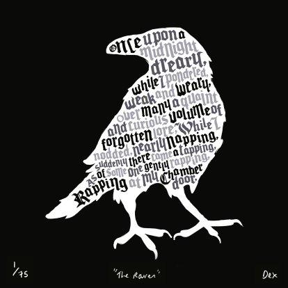 the-raven-edgar-allan-poe-art-print-black